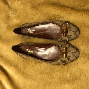 Authentic Gucci Brown Monogram GG Logo Loafers